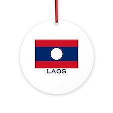 Laos Flag Gear Ornament (Round)