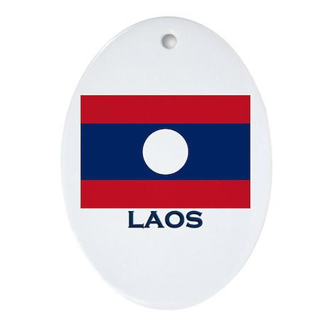 Laos Flag Gear Oval Ornament