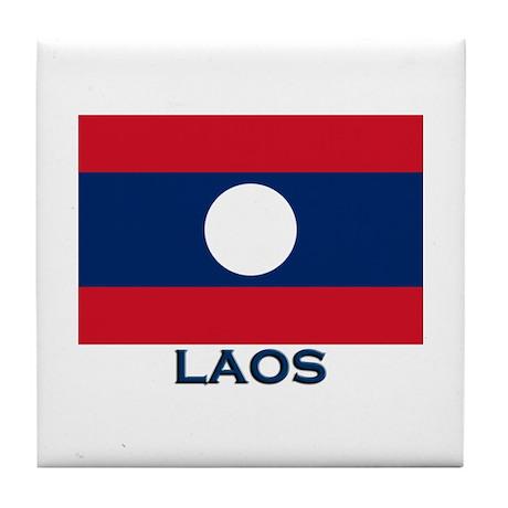 Laos Flag Gear Tile Coaster