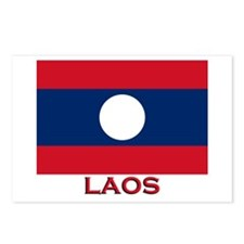 Laos Flag Merchandise Postcards (Package of 8)