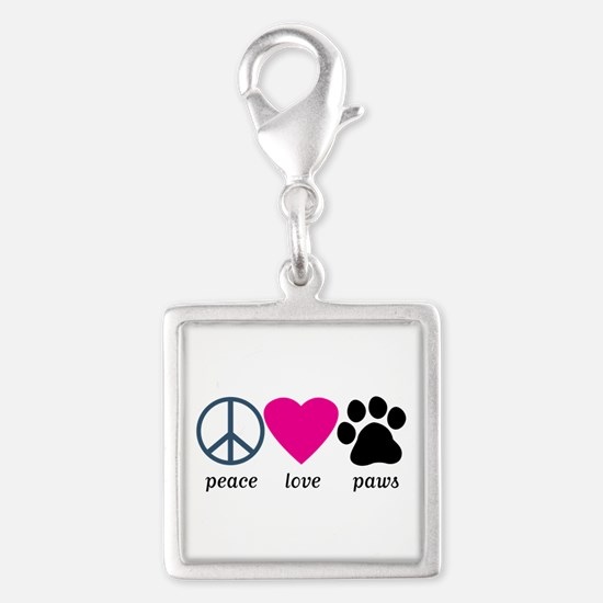 Peace Love Paws Silver Square Charm