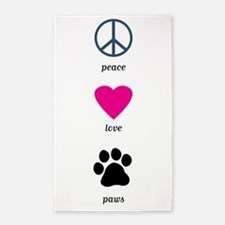 Peace Love Paws 3'x5' Area Rug