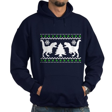 FUNNY! Ugly Holiday Dino Sweater Hoodie (dark)