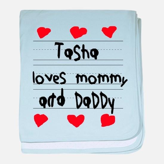 Tasha Loves Mommy and Daddy baby blanket