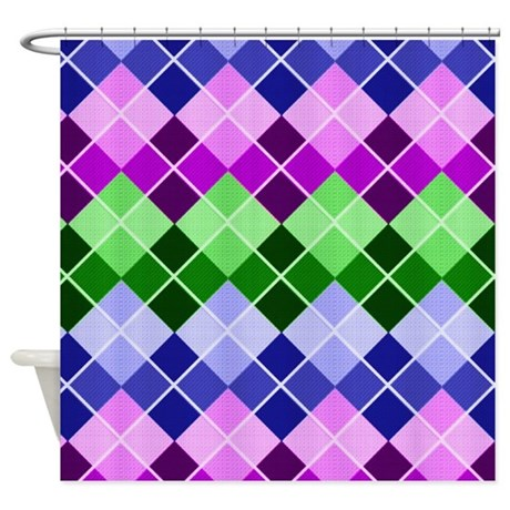 Multi Color Argyle Shower Curtain By WhimsicalDesigns