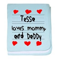 Tessa Loves Mommy and Daddy baby blanket