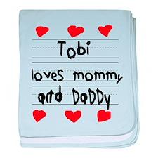 Tobi Loves Mommy and Daddy baby blanket
