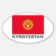 Kyrgyzstan Flag Stuff Oval Decal