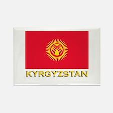 Kyrgyzstan Flag Gear Rectangle Magnet