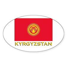 Kyrgyzstan Flag Gear Oval Decal
