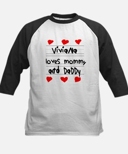 Viviana Loves Mommy and Daddy Kids Baseball Jersey