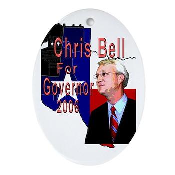 ChrisBell, TX GOV Oval Ornament