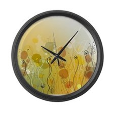 Abstract flowers Large Wall Clock