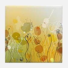 Abstract flowers Tile Coaster