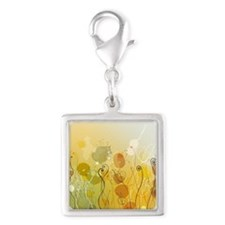Abstract flowers Silver Square Charm
