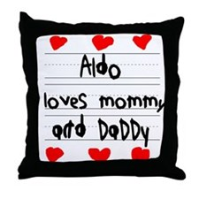 Aldo Loves Mommy and Daddy Throw Pillow