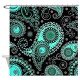Aqua teal pink black paisley pattern Shower Curtains