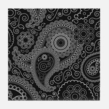 Black and white paisley Tile Coaster