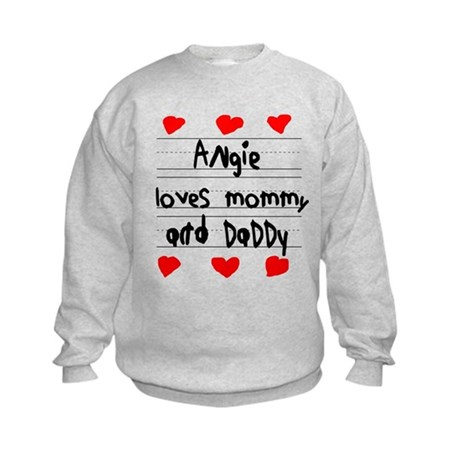 Angie Loves Mommy and Daddy Kids Sweatshirt