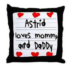 Astrid Loves Mommy and Daddy Throw Pillow