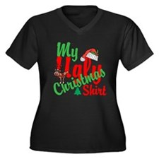 Ugly Christmas Shirt Women's Plus Size V-Neck Dark