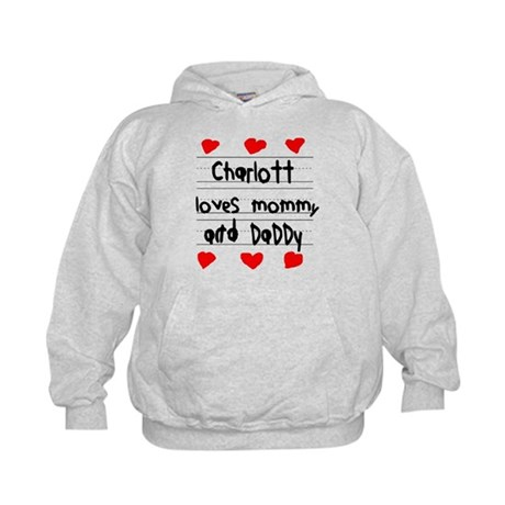 Charlott Loves Mommy and Daddy Kids Hoodie