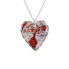 Vintage Santa Necklace Heart Charm