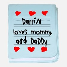 Darrin Loves Mommy and Daddy baby blanket