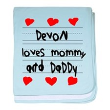 Devon Loves Mommy and Daddy baby blanket
