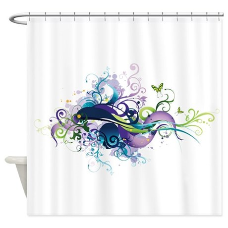 Blue And Purple With Butterfly Shower Curtain By Ibeleiveimages