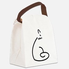 Artistic Swirly Cat Canvas Lunch Bag