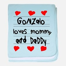 Gonzalo Loves Mommy and Daddy baby blanket