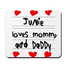 Junie Loves Mommy and Daddy Mousepad