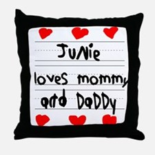 Junie Loves Mommy and Daddy Throw Pillow