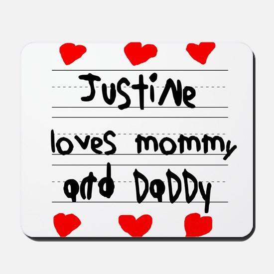Justine Loves Mommy and Daddy Mousepad