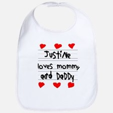 Justine Loves Mommy and Daddy Bib