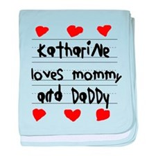 Katharine Loves Mommy and Daddy baby blanket
