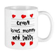 Keven Loves Mommy and Daddy Small Mug
