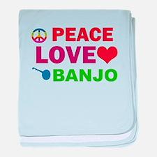 Peace Love Banjo baby blanket