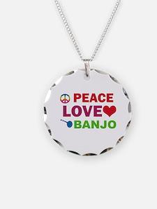 Peace Love Banjo Necklace
