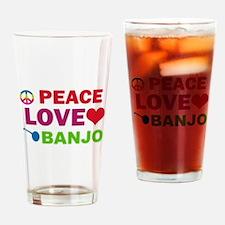 Peace Love Banjo Drinking Glass
