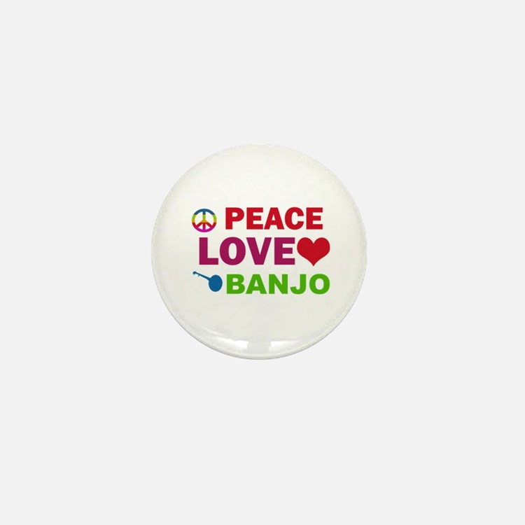 Peace Love Banjo Mini Button
