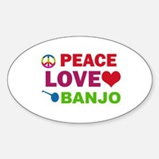 Peace Love Banjo Sticker (Oval)