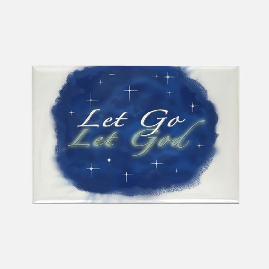 Let Go and Let God w/ Stars Rectangle Magnet