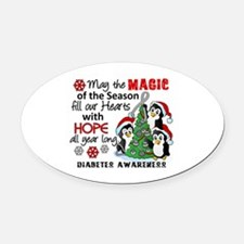 Holiday Penguins Diabetes Oval Car Magnet