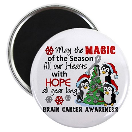 """Holiday Penguins Brain Cancer 2.25"""" Magnet (10 pac"""