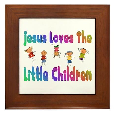 Kids Jesus Loves Framed Tile