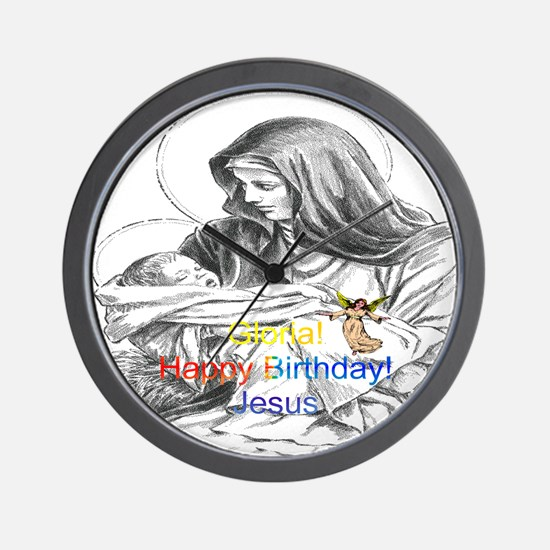 Gloria! Happy Birthday! Jesus Wall Clock