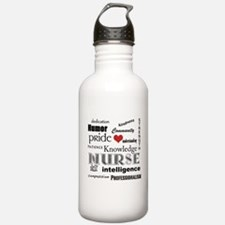 Nurse Pride with Red Heart Sports Water Bottle