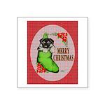 "Merry Christmas Puppy Square Sticker 3"" x 3&q"